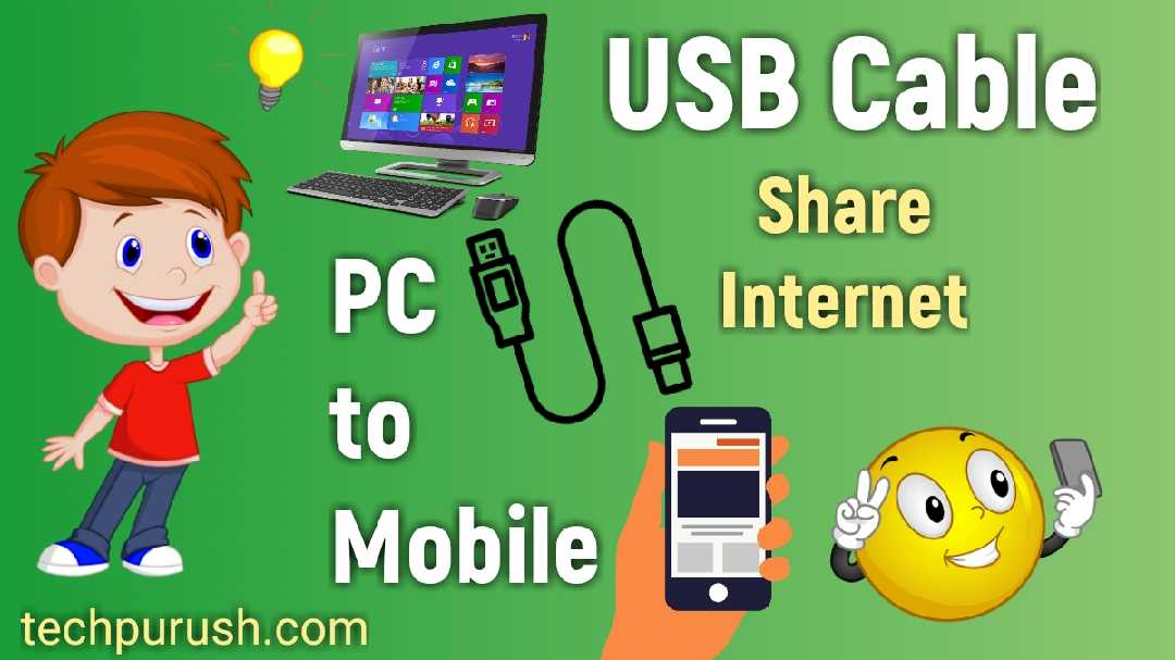Share Internet From PC to Mobile by USB Cable – USB Reverse Tethering